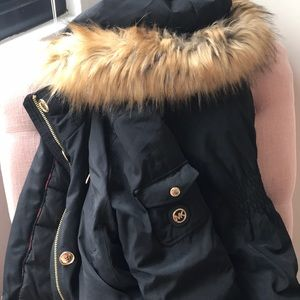 Black fur hooded michael Kors winter coat